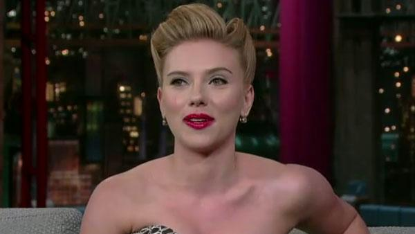 Scarlett Johansson appears in an interview on The Late Show on December 12, 2011. - Provided courtesy of World Wide Pants