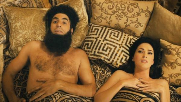 Sacha Baron Cohen and Megan Fox appear in a still from the 2012 film The Dictator - Provided courtesy of Paramount Pictures