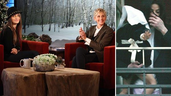 Paris Jackson and Ellen DeGeneres appear on The Ellen DeGeneres Show. / Michael Jackson holds his daughter Paris Katherine as he stands in the window of his suite in the Adlon hotel in Berlin, Thursday, Nov. 21, 2002. - Provided courtesy of Michael Rozman / Warner Bros. / AP Photo / Jockel Finck