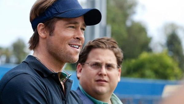 Brad Pitt and Jonah Hill appear in a scene from the 2011 film 'Moneyball.'