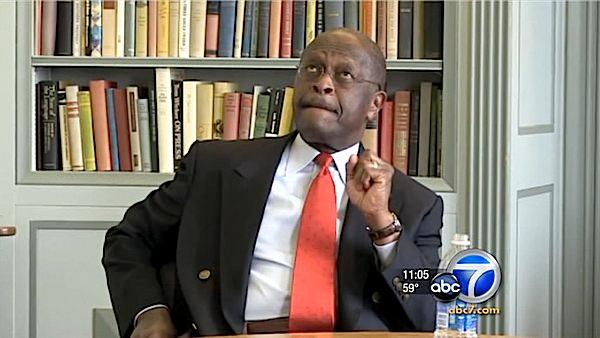 Herman Cain appears in November 2011 in a segment that aired on ABC News.