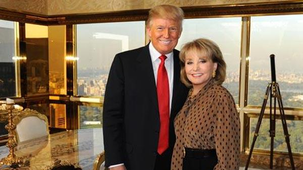 Barbara Walters appears with Donald Trump in a 2011 photo.