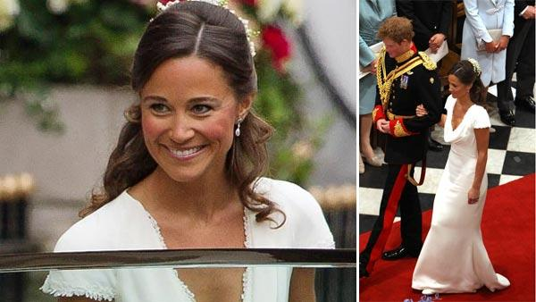 Pippa Middleton, Kate Middleton's sister and bridesmaid Margarita Armstrong-Jones leave the Goring Hotel for Westminster Abbey ahead of the Royal Wedding on April, 29, 2011. / Pippa Middleton with Prince Harry at her sister's wedding to Prince William.