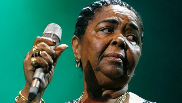 Singer Cesaria Evora from Cape Verde Islands performs on the Ella Fitzgerald stage during Geneva Festival, in Geneva, Switzerland, Thursday, August 10, 2006.