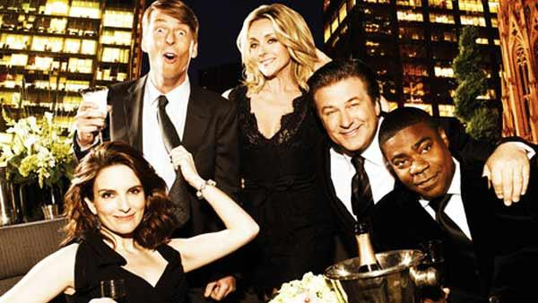 Tracy Morgan, Tina Fey, Alec Baldwin, Jane Krakowski and Jack McBrayer appear in a promotional photo for 30 Rock. - Provided courtesy of NBC / Art Streiber