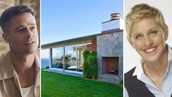 Brad Pitt appears in a still from the 2011 film, Tree of Life. / Brad Pitts Malibu beach house appears in an undated photo. / Ellen DeGeneres appears in a promotional photo for The Ellen DeGeneres Show. - Provided courtesy of Summit Entertainment / Fox Searchlight Pictures / Realtor.com / Fox