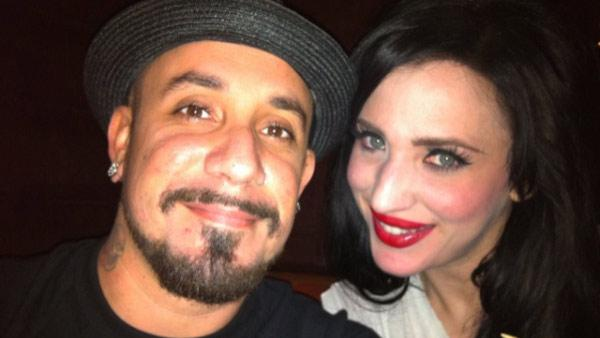 A.J. McLean and Rochelle DeAnna Karidis appear in a photo from his official Twitter page from Aug. 8, 2011.