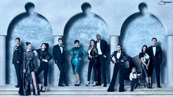 The Kardashian family appears in their 2011 Christmas card. - Provided courtesy of Nick Saglimbeni / kimkardashian.celebuzz.com
