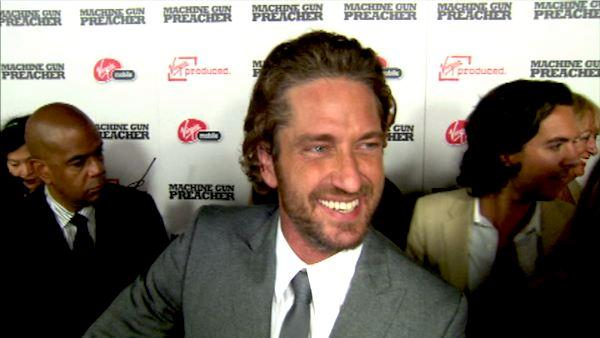 Gerard Butler talks to OnTheRedCarpet.com at the premiere of 'Machine Gun Preacher.'