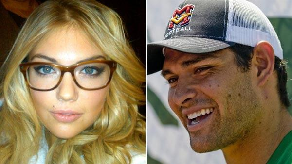 Kate Upton appears in a photo posted on her official Twitter page on December 18, 2011. / Mark Sanchez appears in a photo posted on his official Twitter page on August 11, 2011. - Provided courtesy of Twitter.com/KateUpton / Twitter.com/Mark_Sanchez