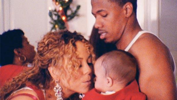 Mariah Carey, her son Moroccan and husband Nick Cannon appear in a still from When Christmas Comes. - Provided courtesy of The Island Def Jam Music Group