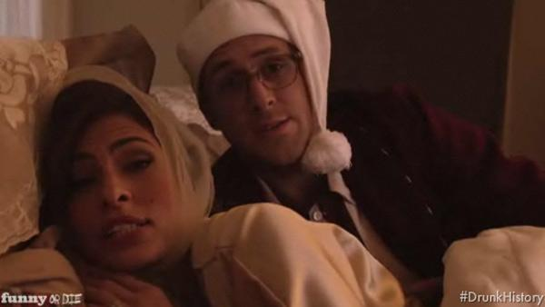 Eva Mendes and Ryan Gosling star in FunnyOrDie.coms Drunk History Christmas in December 2011. - Provided courtesy of FunnyOrDie.com