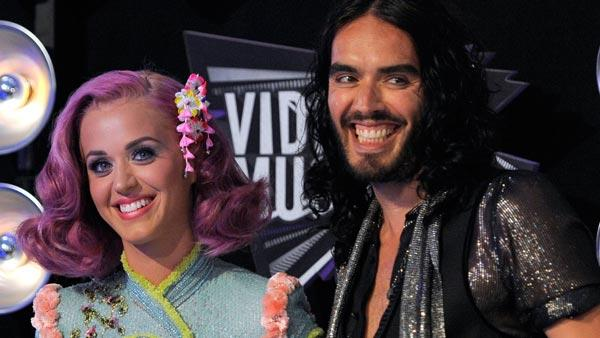 Katy Perry, left, and Russell Brand arrive at the MTV Video Music Awards on Sunday Aug. 28, 2011, in Los Angeles. - Provided courtesy of AP / Chris Pizzello