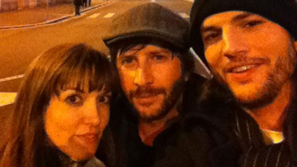 Lorene Scafaria, Matt Mazzant and Ashton Kutcher appear in a photo posted on Kutchers official Twitter account on December 26, 2011. - Provided courtesy of Twitter.com/Aplusk