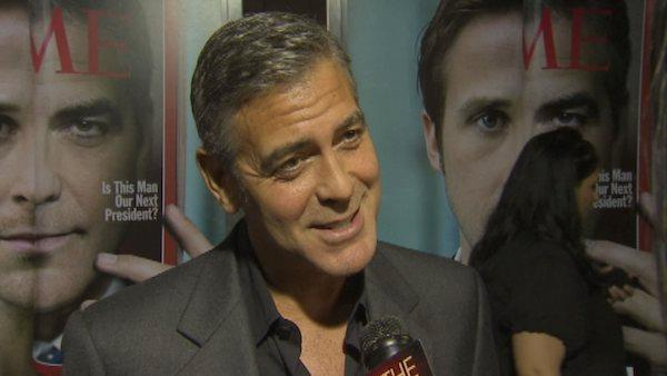 George Clooney talks to OnTheRedCarpet host Rachel Smith at the premiere of 'The Ides of March' on Sept. 27, 2011.