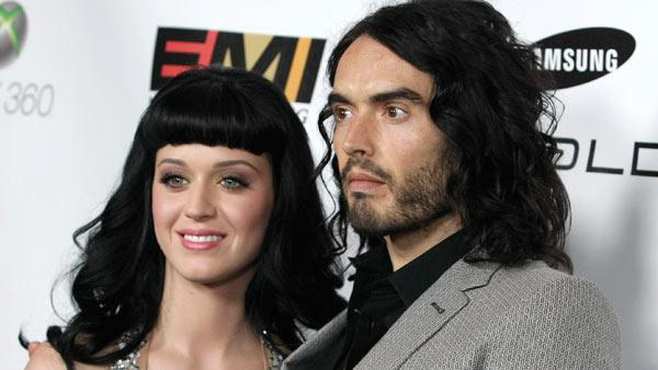 Singer Katy Perry, left, and actor Russell Brand arrive at the EMI Grammy party in Los Angeles on Sunday, Jan. 31, 2010. - Provided courtesy of AP / Dan Steinberg
