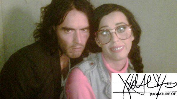 Katy Perry and Russell Brand appear in this photo the comedian Tweeted on  Aug. 10, 2010. / Pictured bottom right: Katy Perrys signature on her and Brands divorce papers, which she signed on Feb. 3, 2012. He filed them on Dec. 30, 2011. - Provided courtesy of twitter.com/rustyrockets/status/20787341039 / Los Angeles Superior Court