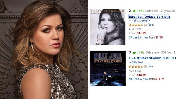 Kelly Clarkson appears in an undated promotional photo on her official website. / A screen cap of Clarksons album sales on December 30, 2011 from Amazon.com. - Provided courtesy of KellyClarkson.com / Amazon