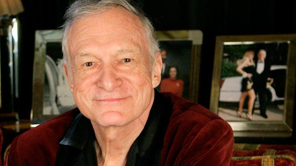 Hugh Hefner photographed at the Playboy Mansion in the Holmby Hills