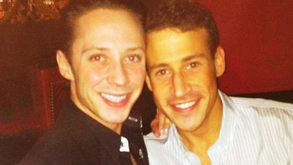 Johnny Weir and his husband Victor Weir-Voronov appear in a photo posted on Zvesda's official Twitter page on December 31, 2011.