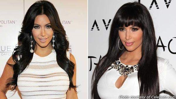 Kardashian can be seen at her 31st birthday party in October on the left and with her new hairstyle during her New Years Eve celebration on the right. - Provided courtesy of Denise Truscello / Wire Image / Celebuzz.com