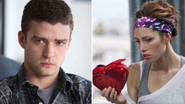 Justin Timberlake appears in a still from his 2009 film, 'The Open Road.'/Jessica Biel appears in a still from her 2010 film, 'Valentine's Day.'