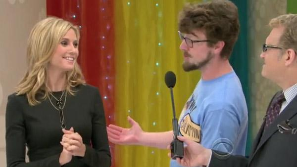 Heidi Klum and Drew Carey appear in a still from the CBS game show The Price is Right. - Provided courtesy of CBS