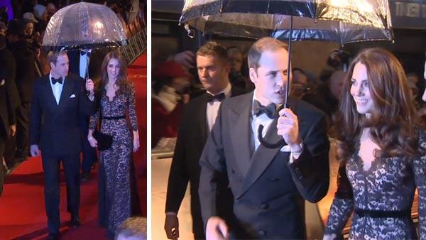 William carries umbrella for Kate at premiere