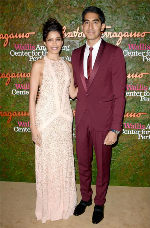 Freida Pinto and Dev Patel attend the Wallis Annenberg Center for the Performing Arts Inaugural Gala, presented by Salvatore Ferragamo, at the Wallis Annenberg Center in Beverly Hills on Oct. 17, 2013. <span class=meta>(Lionel Hahn &#47; AbacaUSA &#47; Startraksphoto.com)</span>