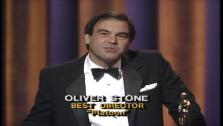 Director Oliver Stone appears in a scene from his Oscar speech when he won for his film Platoon.