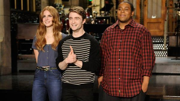 Lana Del Ray, Daniel Radcliffe and Kenan Thompson appear in a still from the January 14 episode of Saturday Night Live. - Provided courtesy of NBC / Dana Edelson