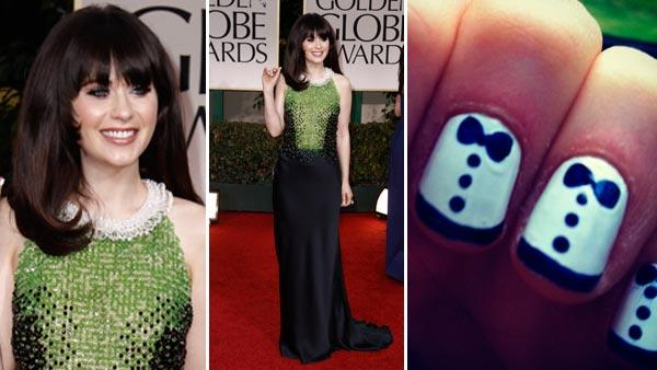 Zooey Deschanel arrives at the 69th Annual Golden Globe Awards Sunday, Jan. 15, 2012, in Los Angeles. / Zooey Deschanels nails appear in a photo from her official Instagram account. - Provided courtesy of AP Photo / Matt Sayles / http://instagr.am/p/hiuYs/
