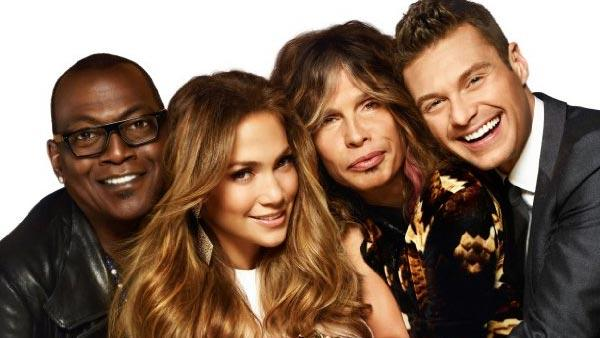 Ryan Seacrest, Jennifer Lopez, Steven Tyler and Randy Jackson appear in a promotional photo for American Idol. - Provided courtesy of FOX