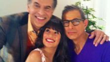 Lea Michele, Brian Stokes Goldblum and Brian Stokes Mitchell appear in a photo posted on the actress official Twitter page on January 19, 2012. - Provided courtesy of Twitter.com/MsLeaMichele