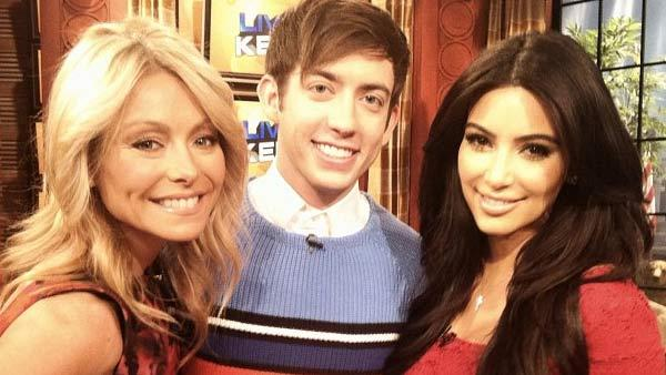 Kim Kardashian, Kelly Ripa, Kevin McHale appear in a Twitter photo taken on January 23. - Provided courtesy of Twitter.com/LiveKelly