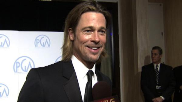 Brad Pitt talks to OnTheRedCarpet.com at the Producers Guild Awards in Los Angeles on Jan. 21, 2012. - Provided courtesy of OTRC