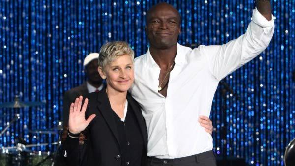 Seal appears with Ellen DeGeneres on her show on January 23, 2012. - Provided courtesy of Warner Bros. Television