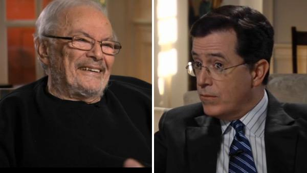 Stephen Colbert and Maurice Sendak appear in a still from the Comedy Central show, The Colbert Report. - Provided courtesy of Photo courtesy of Comedy Central