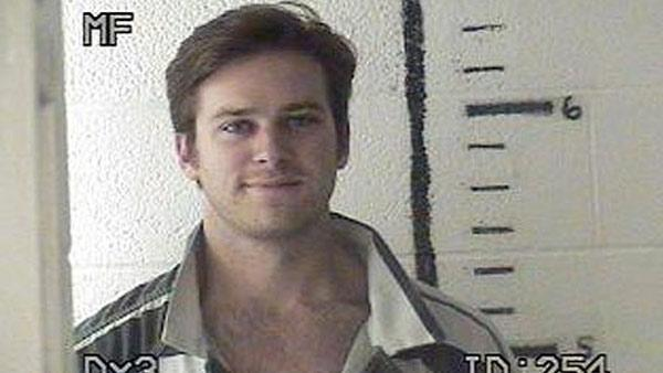 Armie Hammer appears in a mug shot taken by the Hudspeth County Sheriffs Office after his November 2011 arrest for drug possession. - Provided courtesy of Hudspeth County Sheriffs Office