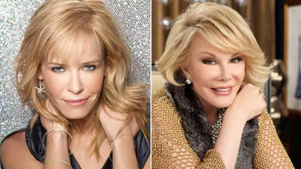 Chelsea Handler appears in a promotional photo for Chelsea Lately in 2012. / Joan Rivers appears in a promotional photo for Fashion Police in 2012. - Provided courtesy of E!