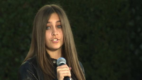 Paris Jackson appears on stage at her father Michael Jackson's hand and footprint ceremony at the Grauman's Chinese Theatre on Jan. 26, 2012.