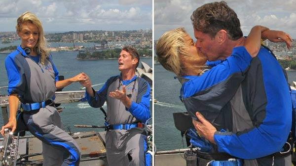 David Hasselhoff and Hayley Roberts appear in photos posted on the actors Twitter page on January 30, 2012. - Provided courtesy of Twitter.com/DavidHasselhoff