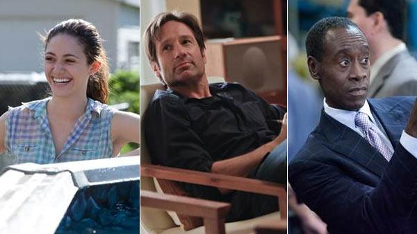David Duchovny appears in a scene from his Showtime series, Californication. / Emmy Rossum appears in a scene from his Showtime series, Shameless. / Don Cheadle appears in a scene from his Showtime series, House of Lies. - Provided courtesy of Showtime