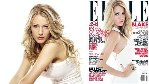 Blake Lively appears in a promotional photo for Gossip Girl. / Blake Lively appears on the March 2012 cover of Elle magazine. - Provided courtesy of The CW / Elle magazine