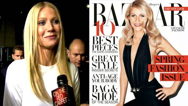 Gwyneth Paltrow talks to OnTheRedCarpet.com at the Hollywood premiere of Country Strong. / Gwyneth Paltrow appears on the March 2012 cover of Harpers Bazaar. - Provided courtesy of OTRC / Harpers Bazaar / Terry Richardson