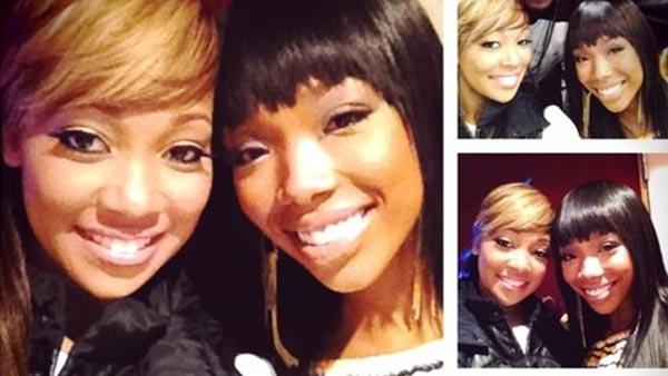 Brandy Norwood and Monica Brown appear in a photo posted on Brandys Twitter page on January 6, 2012. - Provided courtesy of twitter.com/#!/4everBrandy/status/155493601344884736