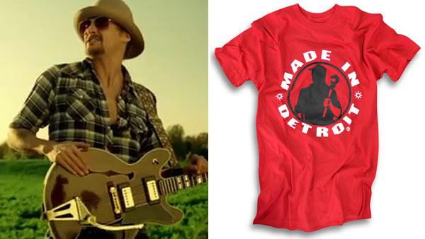 Kid Rock appears in his Born Free video. / A Made in Detroit T-shirt appears from the companys official website. - Provided courtesy of WMG / MadeInDetroit.com