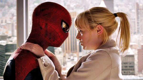Andrew Garfield and Emma Stone appear in a scene from the 2012 movie The Amazing Spider-Man.