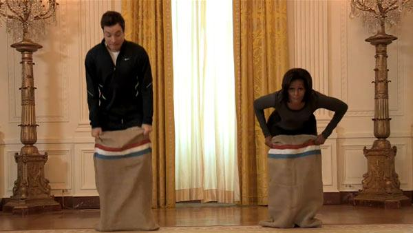 Jimmy Fallon and Michelle Obama appear in a still from Late Night with Jimmy Fallon. - Provided courtesy of NBC