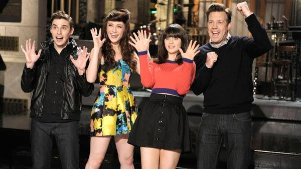 Nick Noonan and Amy Heidemann of Karmin, Zooey Deschanel and Jason Sudeikis appear in a promotional photo for the February 11 episode of Saturday Night Live. - Provided courtesy of NBC / Dana Edelson